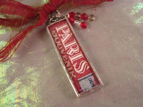 PARIS - Soldered Art Glass Necklace Pendant