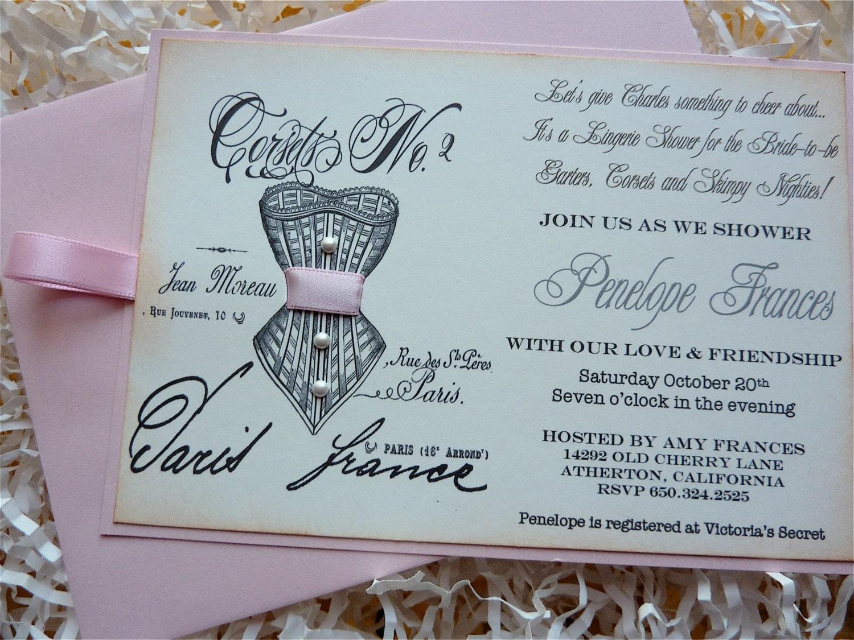 Lingerie Shower Bachelorette Party Invitation Vintage Paris Set of ...
