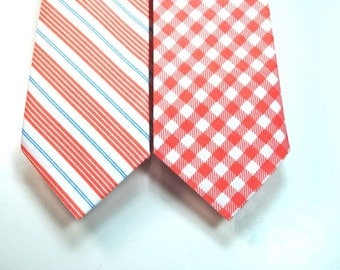 Coral Neckties Coral and Blue Neckties Mens Neckties Custom Neckties