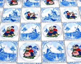 Dutch Delft Blue Cotton - Red Blue farmers - Fat Quarter