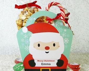 Kawaii Christmas Santa Treat Basket Giftbag Editable Printable PDF