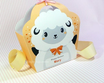 Kawaii Lamb Giftbag Cute Valentine's Day Easter Love Birthday Party Treat basket Lamb Bag Packaging Editable Printable PDF