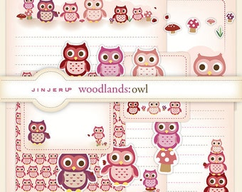 Woodlands Owl Stationery - Printable PDF