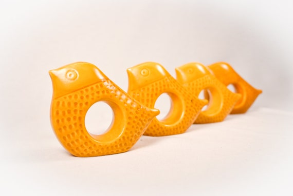 Set of Four, 1960s Danish Modern Pottery Bird Napkin Holders Mustard Gold