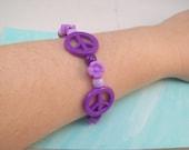 Purple Peace Sign Beaded Stretch Bracelet Small