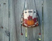 Deerskin Leather Medicine Bag with Maple leaf and Pumpkin design on the front
