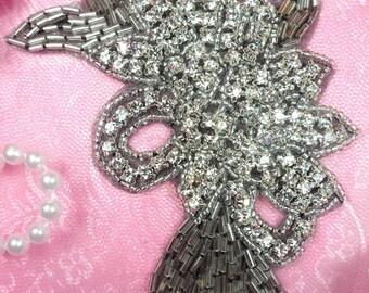"""XR49 Black Backing Crystal Rhinestone Applique Silver Beaded Floral 5.75"""" (XR49-bkcr)"""