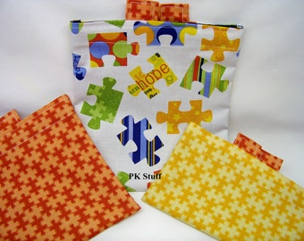ON SALE! PK Happy Baggy Set - Pieces of Hope - Eco-friendly Lunch Bags - Washable Baggy Set - Ready To Ship