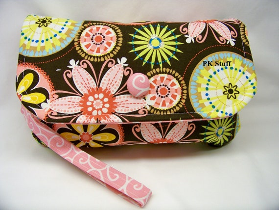 Diaper Clutch Set - Diaper Wristlet in Carnival Bloom - Matching Reversible Changing Cloth Included - Ready To Ship