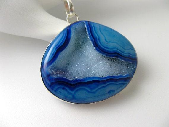 Sale - Rare Blue Druzy Gemstone Pendant - Sterling Silver Necklace
