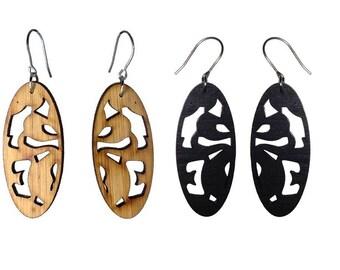 Mini Tribal Oval Bamboo Earrings-Very Light KSE12017