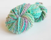Merino wool Handspun Yarn - light turquoise blue with pink and green splashes, worsted weight 2ply, 45 yds