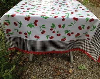 "Life is a bowl of cherries retro 52x70"" oilcloth tablecloth in vintage patterns"