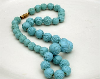 Vintage Turquoise Early Plastic Rose Bead Necklace