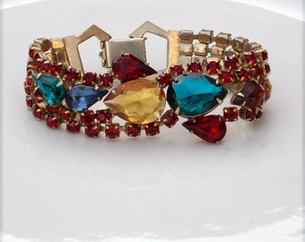 Vintage Julianna Gold and Red Rhinestone Bracelet