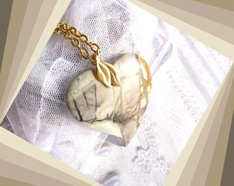 Picasso Jasper Freeform Heart - Necklace  DC 8287