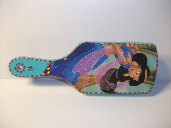 Jasmine and Aladdin  Decopaged HairBrush  New  Disney  Princess  Large Teal