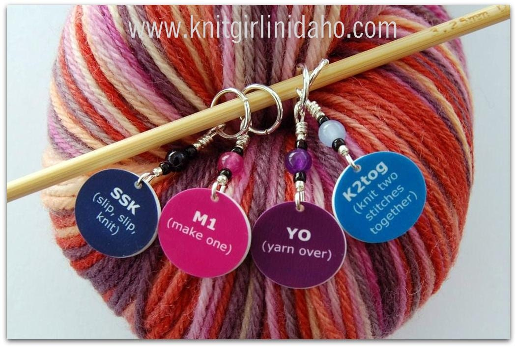 Knitting Terminology Ssk : Knitting stitch markers ssk k tog m and yo set of