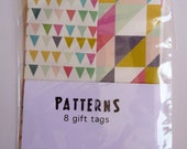8 gift tags - Geometric and colors - print for Christmas