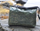 Waterproof Laptop Bag 'Eukaryote' Tunicate Messenger Diaper Bag Black and Green