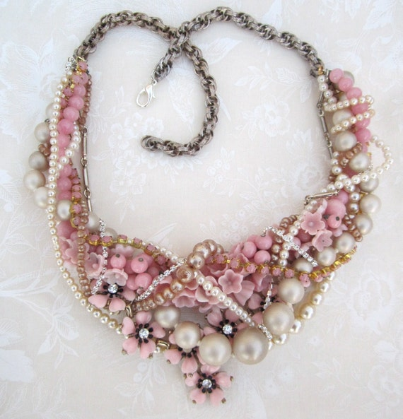 Pink Statement Necklace Pearl Necklace Chunky Statement for Vintage Wedding With Vintage Flowers Twisted - Rethink Pink