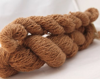 30% off STORE CLOSING SALE Recycled Yarn, Brown Alpaca Yarn, Sport Weight Yarn - 267 Yards