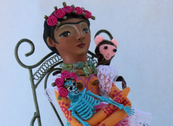 Reserved: OOAK Frida doll, Day of the Dead