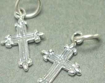 Add-On Oxidized Sterling Cross Charm X019