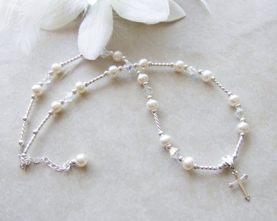 SET Child's Sterling Cross Necklace and Name Bracelet with Freshwater Pearl and Crystals S015