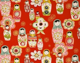 OOP HTF 34 inches Zhivago Traditional Russian Folklore AH Fabric Hand Painted Wooden Stacking Matreshka Nadya Dolls on Red