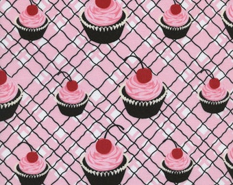 Sweet Jessie's Fabric Collection TT Retro Cupcake Chocolate Cherry Cupcakes on Pink