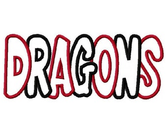 Dragons 2 Color Digital Embroidery Machine Applique Design 2901