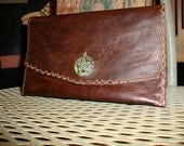 Dark brown Leather women's wallet with inside Pocket