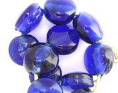 Lampwork glass beads: Set of cobalt blue Harvey's Bristol Cream sherry bottle lentil beads SRA P97