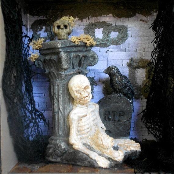 Gothic Shadow Box  - Memento Mori - Repurposed Cabinet