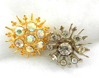 Snowflakes precious and bright - Vintage 1950 - Brooches /Pins - 2 antique crystals brooches Italian-Art.226/2--