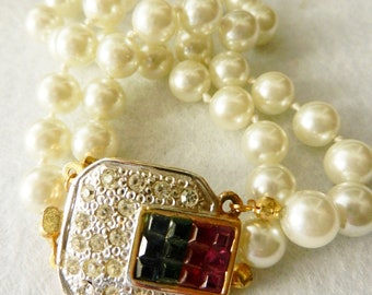 ArtDeco Vintage Italian 1960 - 2 strands  pearls bracelet, high quality -exquisite crystals clasp -A jewel perfect for a bride-Art.241/2-
