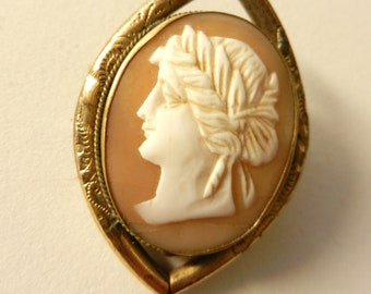 Gorgeous and rare cameo, 1900 - Italian antique jewelry, refined shell cameo -brooch with cameo --Art.359/2 -