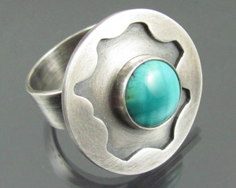 turquoise nucleus sterling silver cocktail ring - turquoise ring - sterling silver ring - cocktail ring - boho ring - southwest