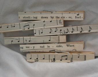 Antique Sheet Music Decorative Clothespins