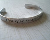 a star shines on the hour of our meeting - hand stamped aluminum lord of the rings inspired elvish cuff bracelet