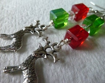 Hello Rudolph - Red and Green Dangle Reindeer Charm Earrings