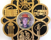 Firefighter wall hanging with picture insert--1pi