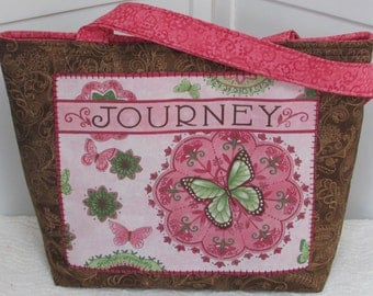 Butterfly Large Tote Bag  Day Dreams Purse in Pink and Brown  Ready to Ship