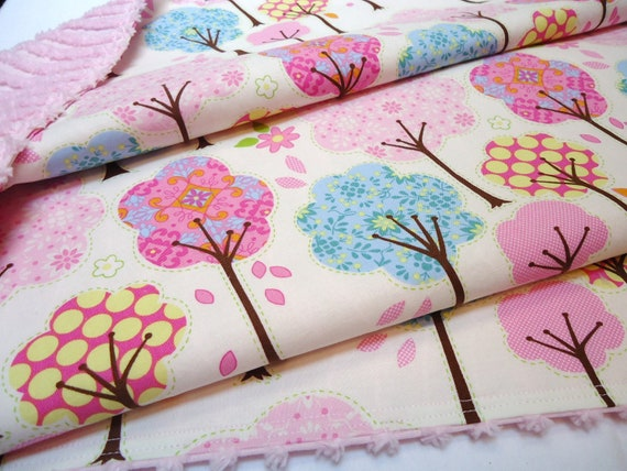 Chenille Baby Blanket, Girl, Pretty Little Things, Pink with Trees, Polyester Free