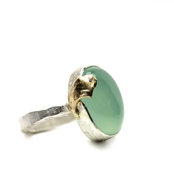 Aqua Chalcedony Gold Diamond Silver Ring - Gentle Embrace