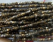 antique French Steel cuts bead strand Rustic Oxidization