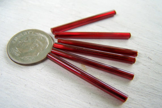 Vintage bugle beads extra long 30mm   tube beads Crimson Red lined needle beads Czech Red available also