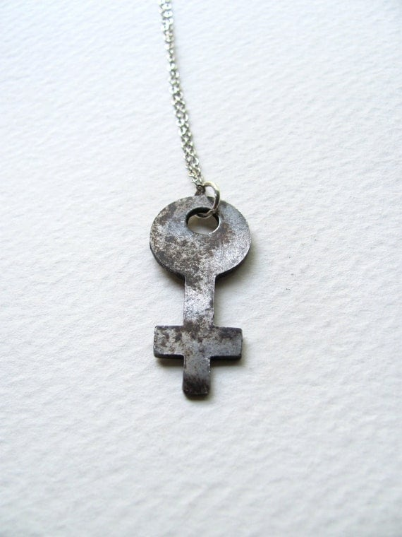Antique silver skeleton cross key necklace on sterling plated chain, one of a kind