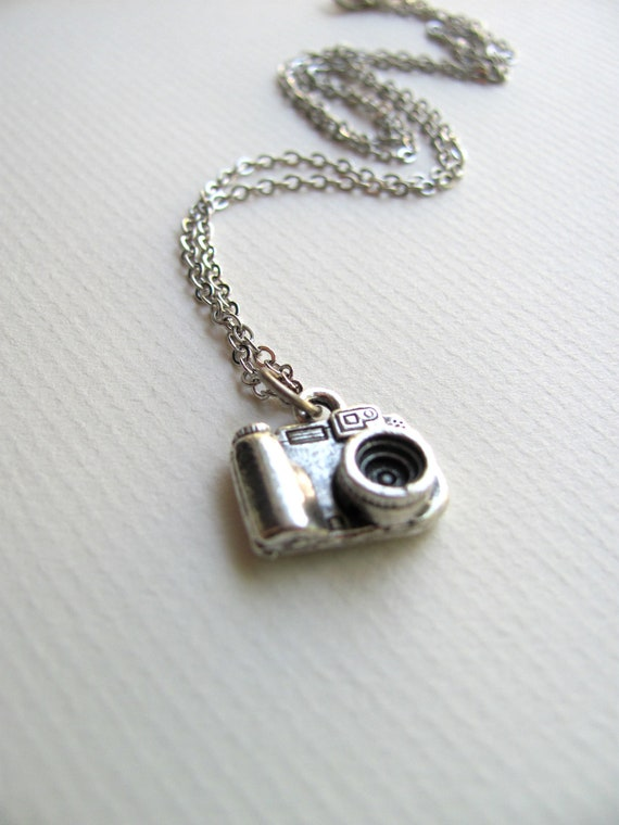 Silver camera charm necklace on delicate sterling silver plated chain